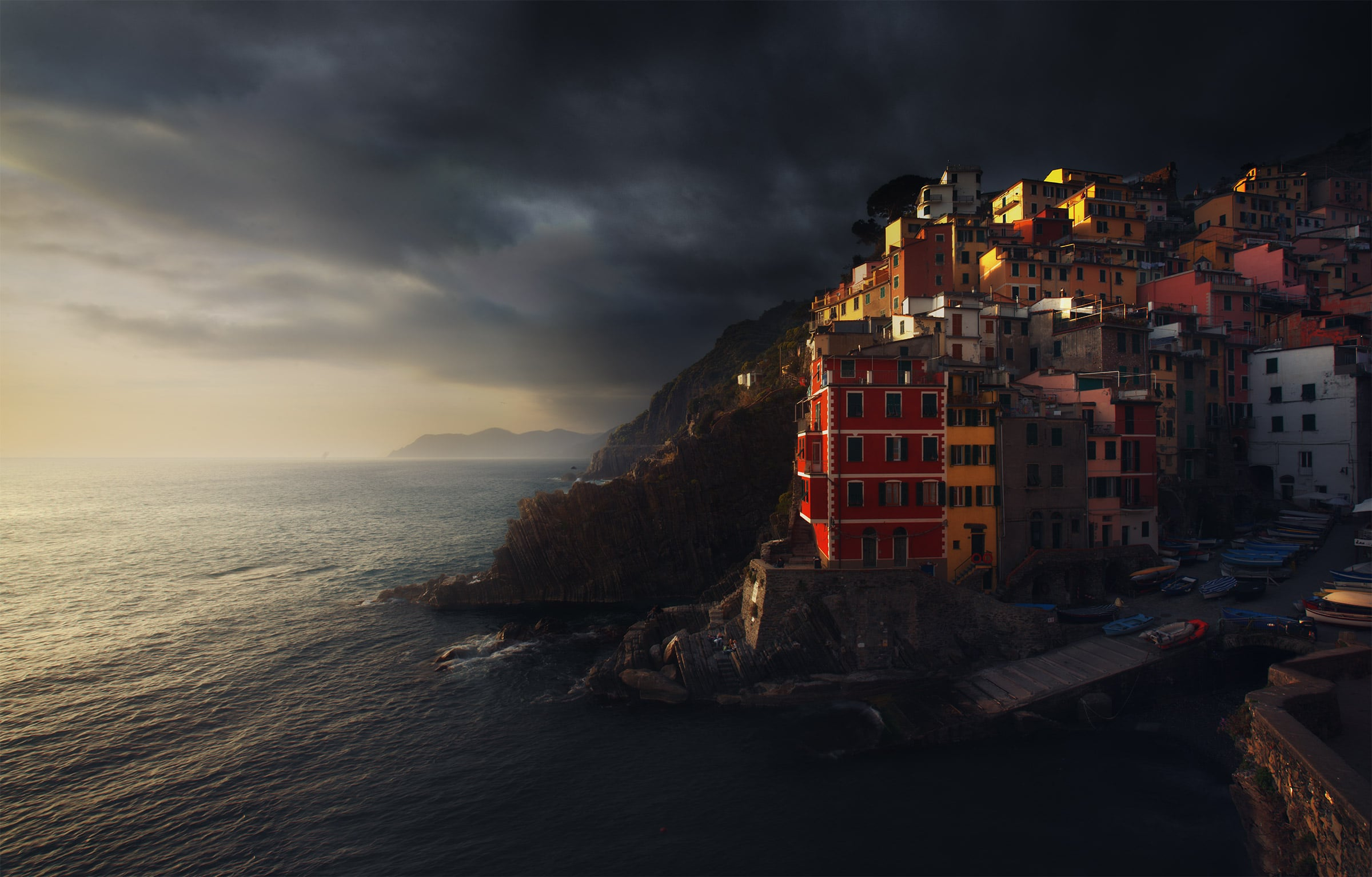 Riomaggiore at sunset in winter photo workshop