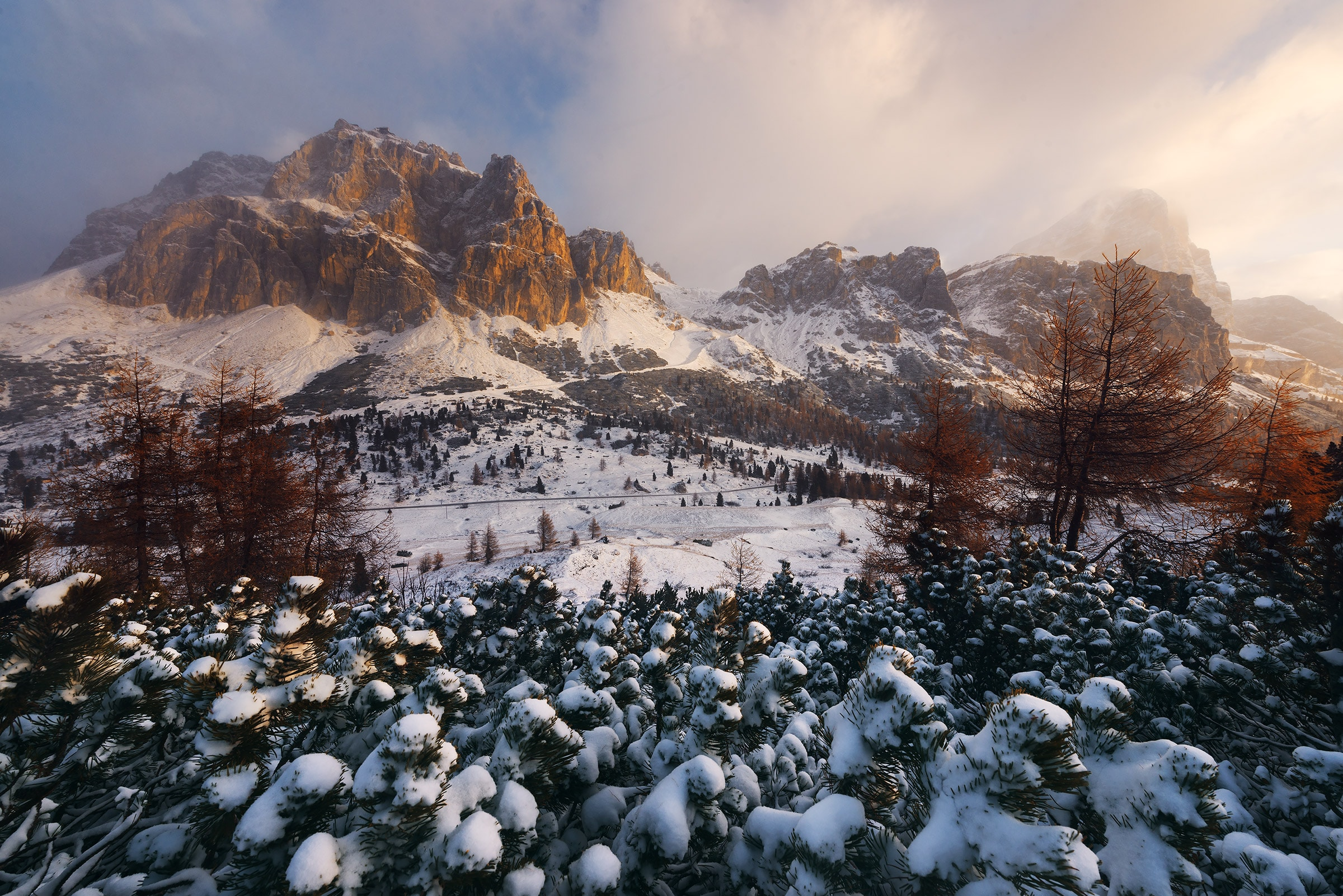 Fresh snow on the Dolomites during our late autumn photography workshop