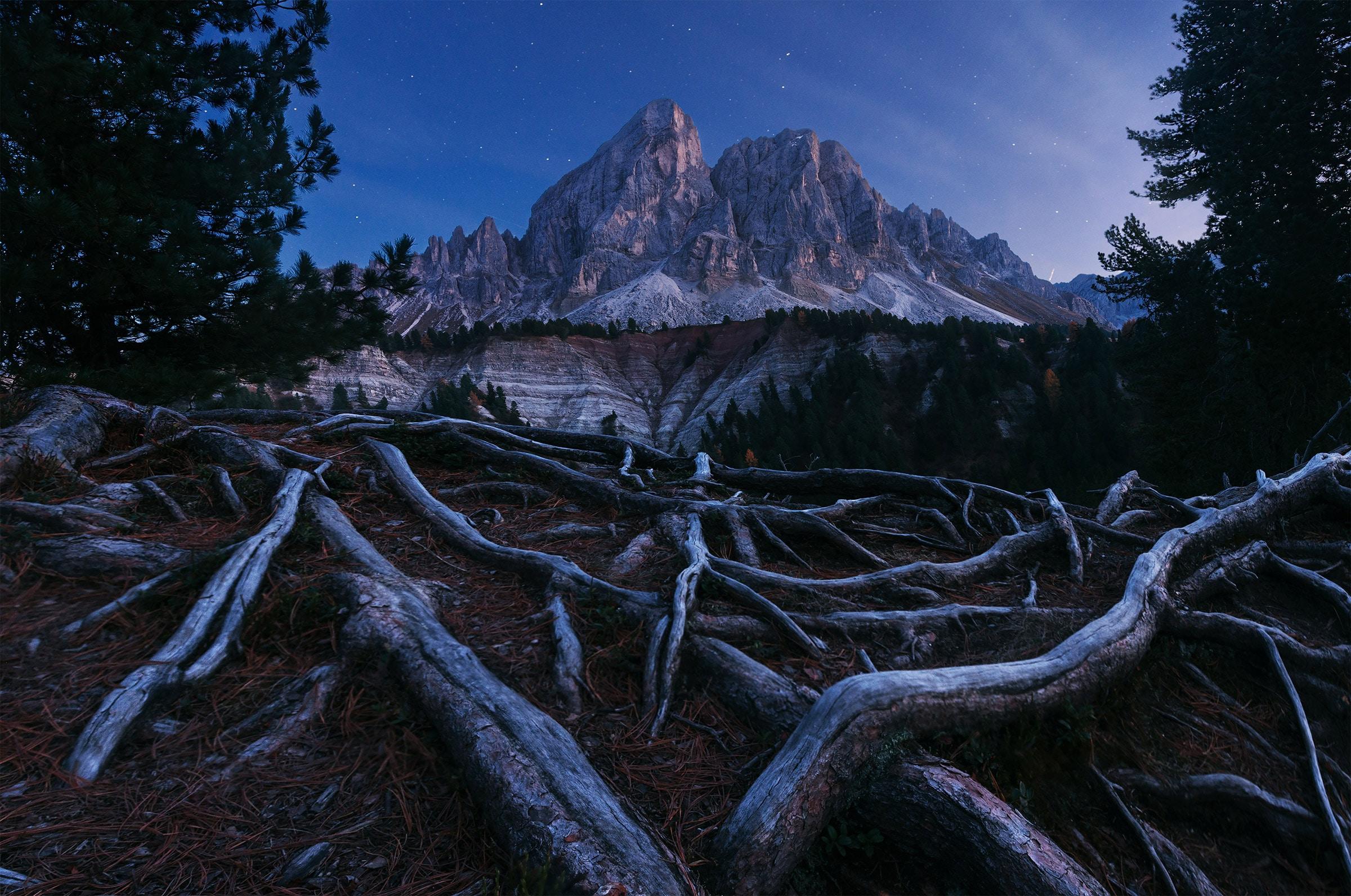 Twilight in the Dolomites in autumn with stars