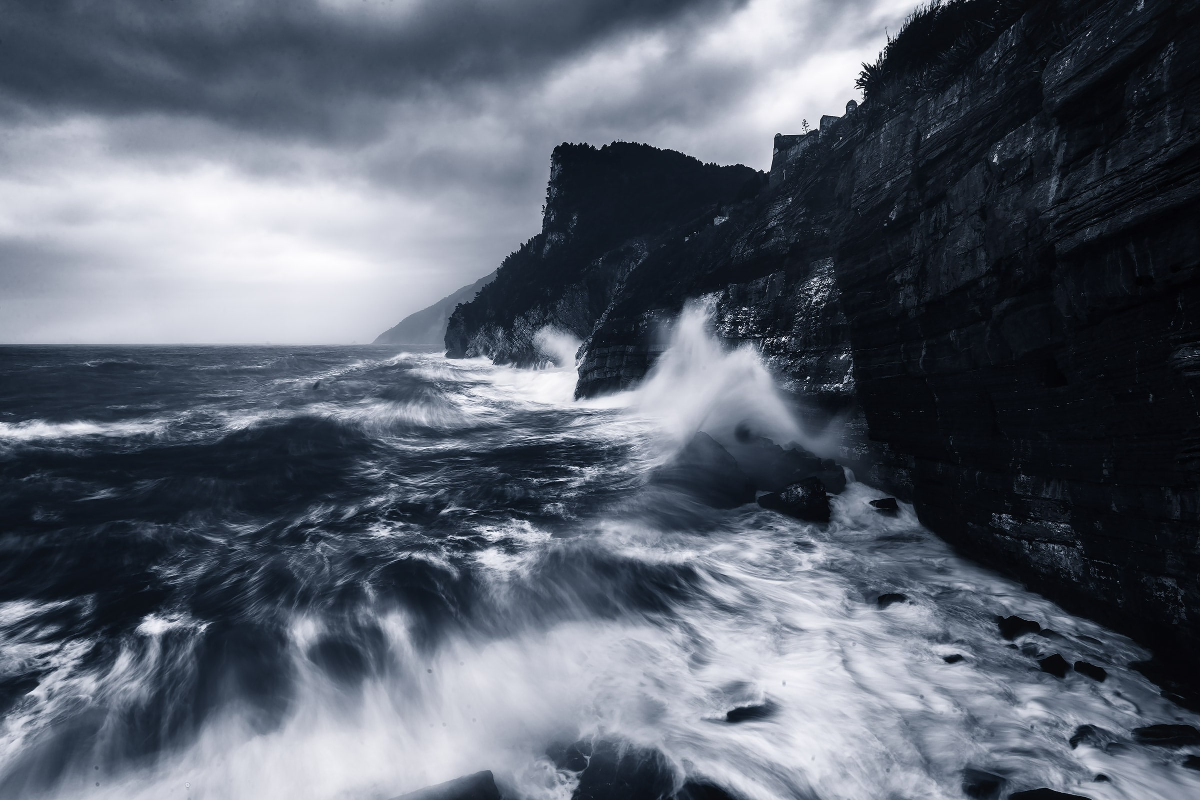 byrons cave during a sea storm in cinque terre