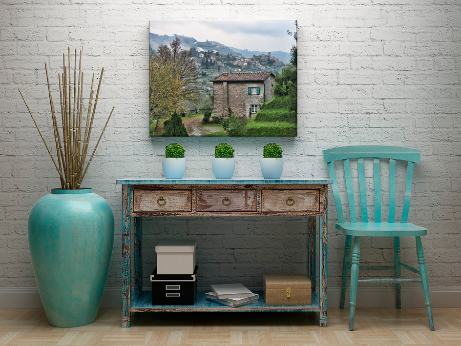 Canvas of Tuscan village in a living room