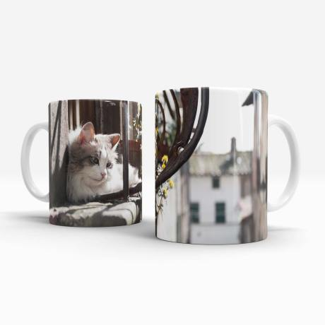 Cat on a hot window ledge mug left and right handle