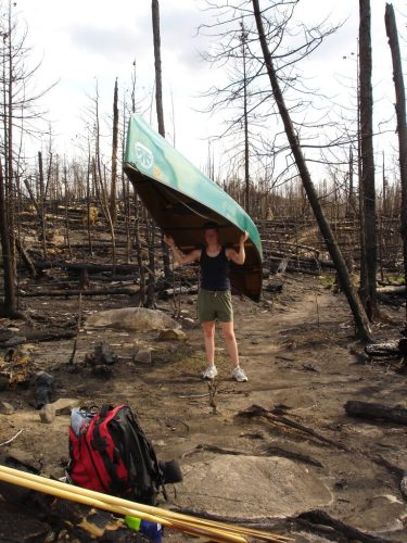 Portaging through the Cavity Wildfire area in 2006