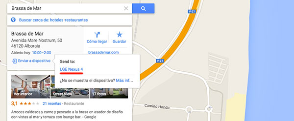Google Maps enviar Android