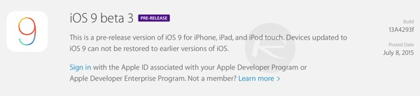 iOS 9(nueve) Beta 3