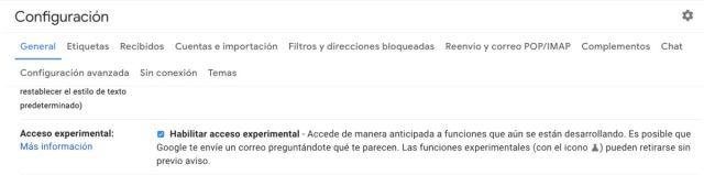 Funciones experimentales de Gmail
