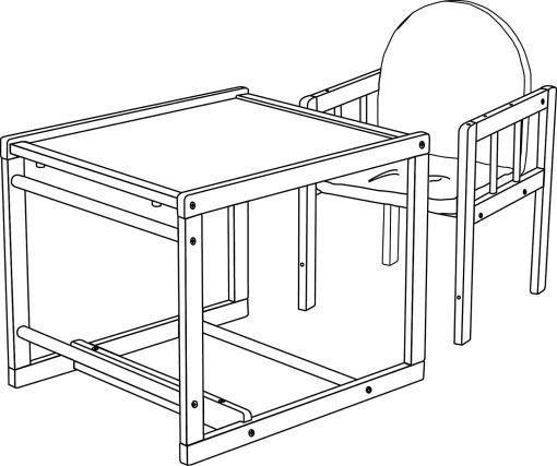 dibujo trona mas mesa