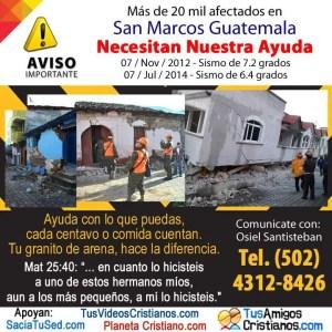 Ayuda Guatemala, sismo afecta más de 20 mil personas