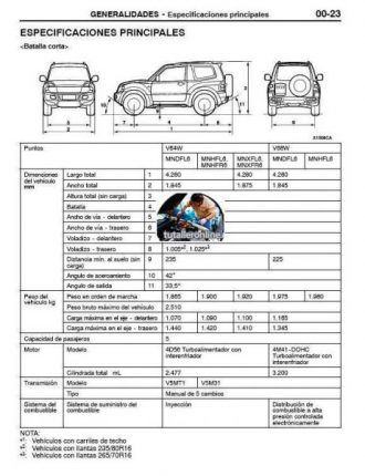 MITSUBISHI MONTERO LIMITED 2001-2005 MANUAL DE TALLER