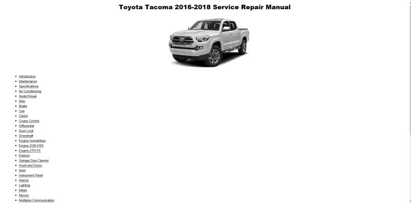 TOYOTA TACOMA 2016-2018 MANUAL DE TALLER Y REPARACION