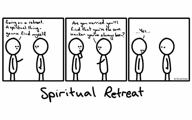 Tut and Groan Three Panels: Spiritual Retreat cartoon
