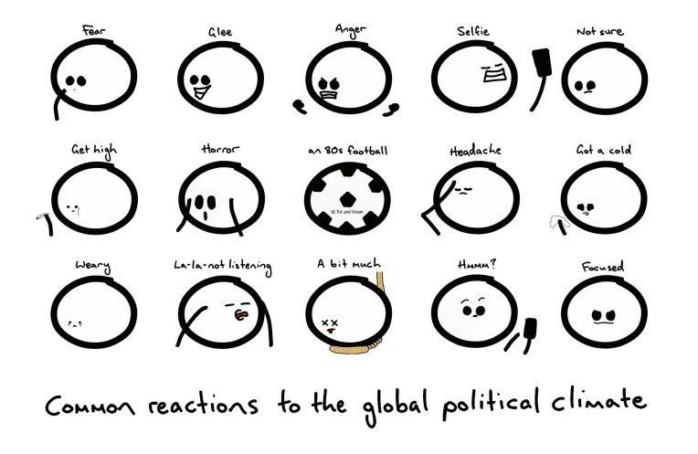 Tut and Groan Common Reactions to the Global Political Climate cartoon