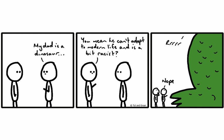 Tut and Groan Three Panels: Dinosaur cartoon