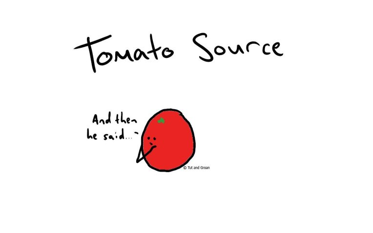 Tut and Groan Tomato Source cartoon