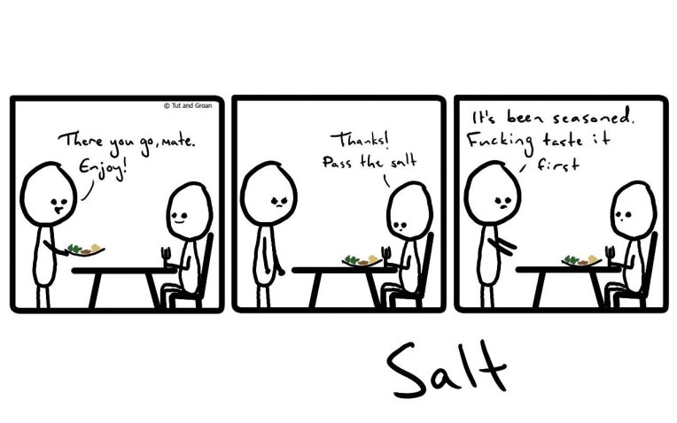Tut and Groan Three Panels: Salt cartoon