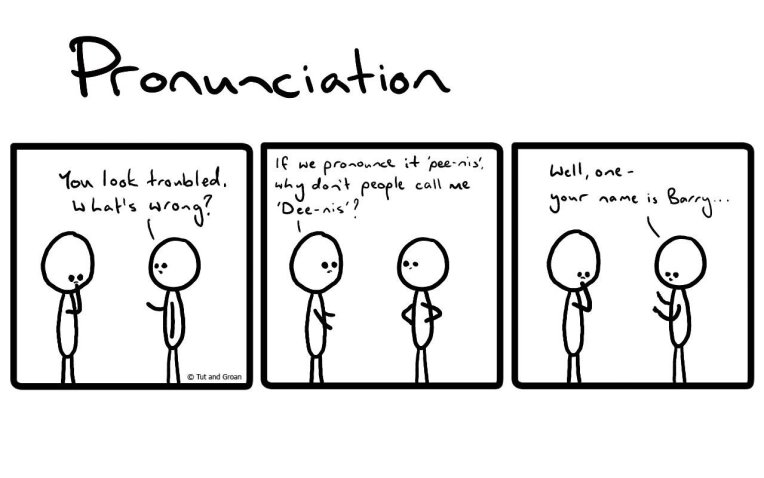Tut and Groan Three Panels: Pronunciation cartoon