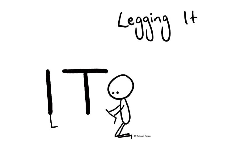 Tut and Groan Legging It cartoon