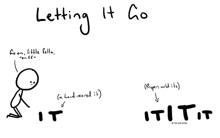 Tut and Groan Letting It Go cartoon