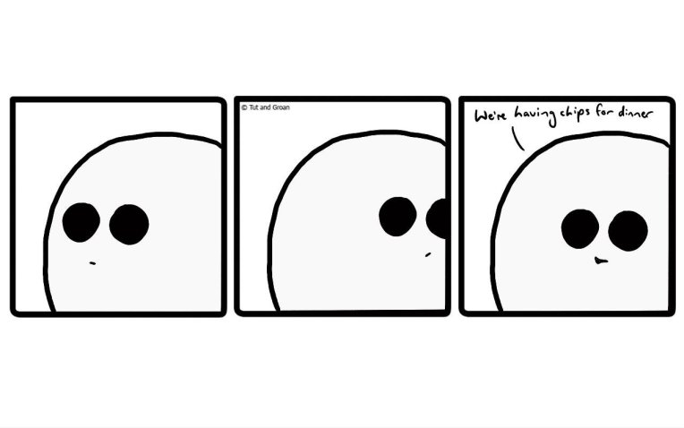 Tut and Groan Three Panels: Chippy Dinner cartoon