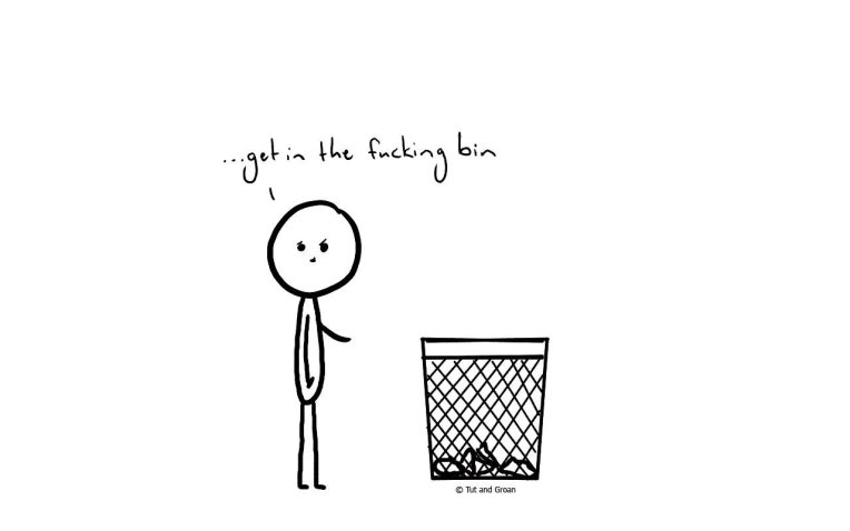 Tut and Groan Get in the Bin cartoon