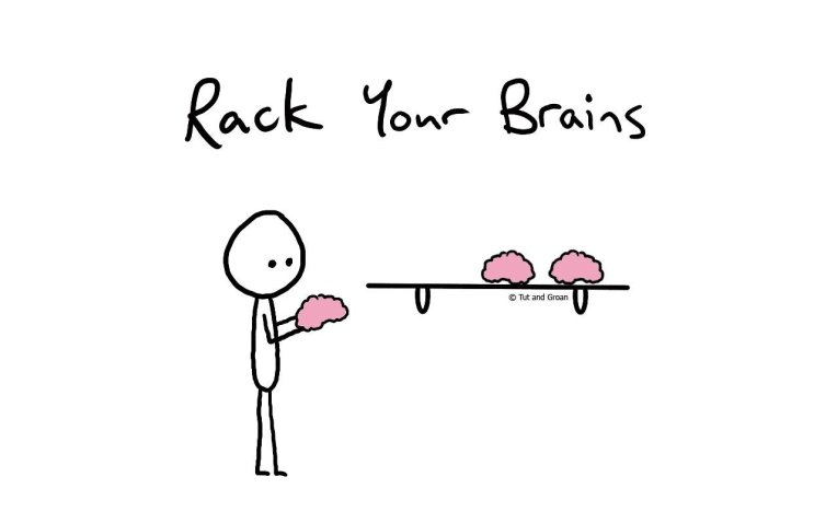 Tut and Groan Rack Your Brains cartoon