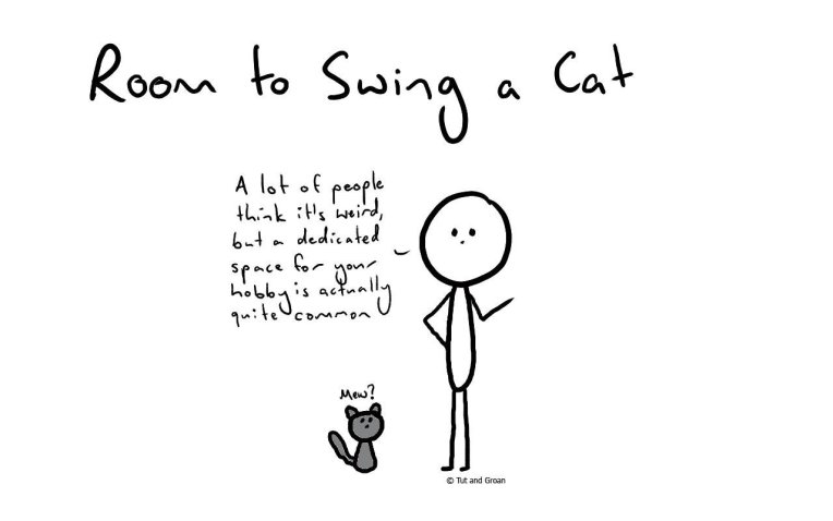 Tut and Groan Room to Swing a Cat cartoon