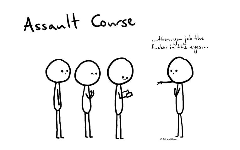 Tut and Groan Assault Course cartoon
