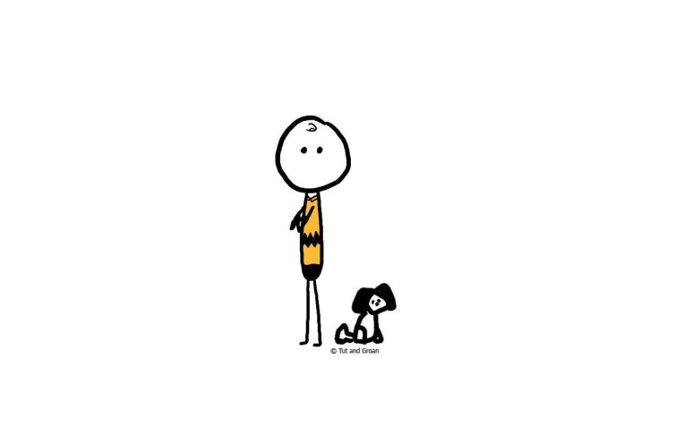 Tut and Groan Iconic Duos: Charlie Brown & Snoopy cartoon