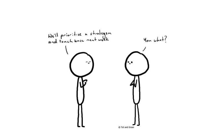 Tut and Groan Business Talk cartoon