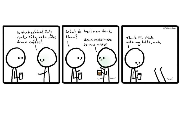 Tut and Groan Three Panels: Coffee cartoon