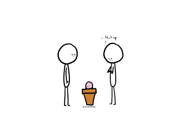 Tut and Groan Flowerpot cartoon