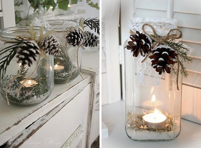 Iluminacin con velas navideas caseras