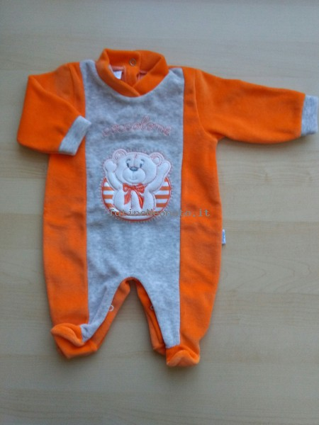 Tutina neonato e neonata ciniglia coccolone arancio 13 mesi