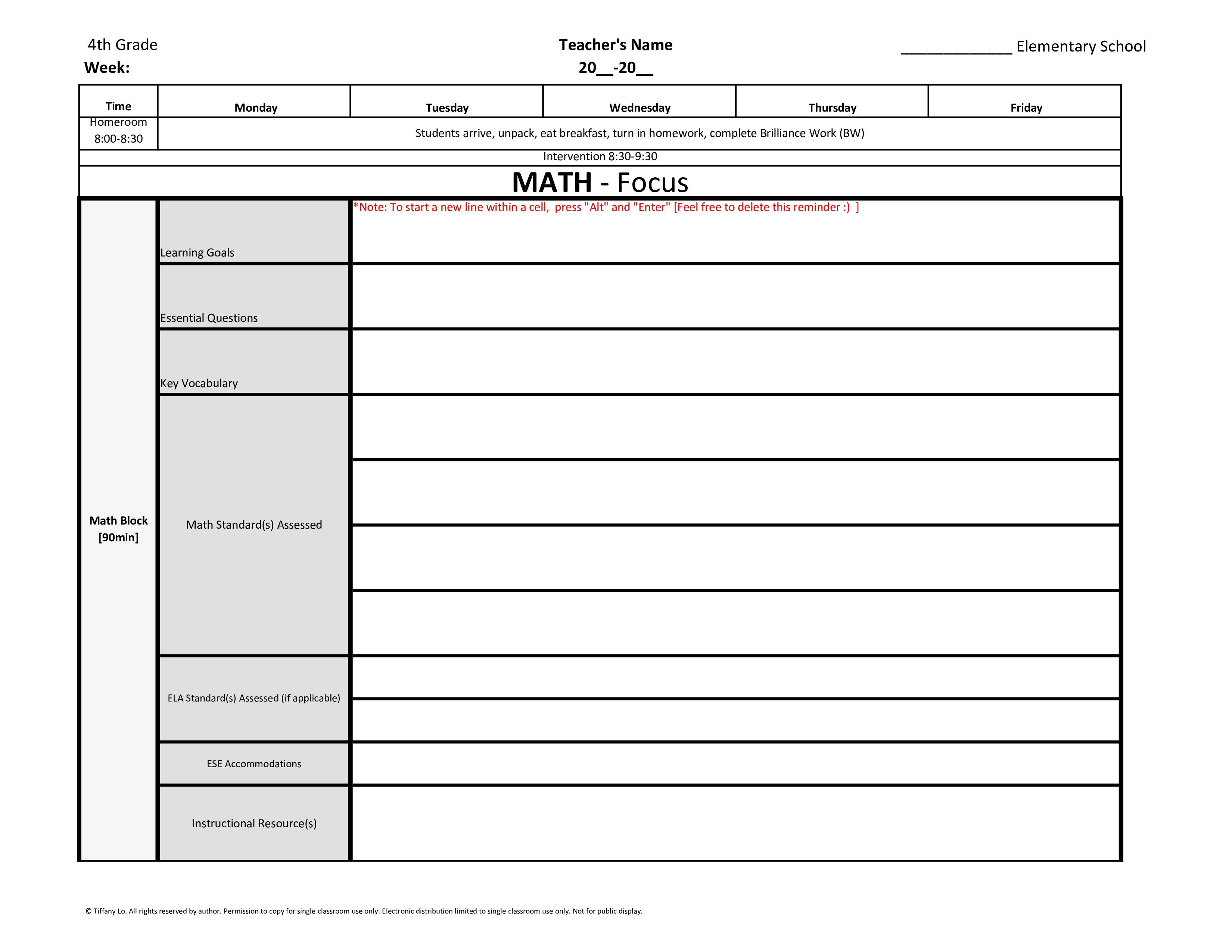 4th Fourth Grade Common Core Weekly Lesson Plan Template W