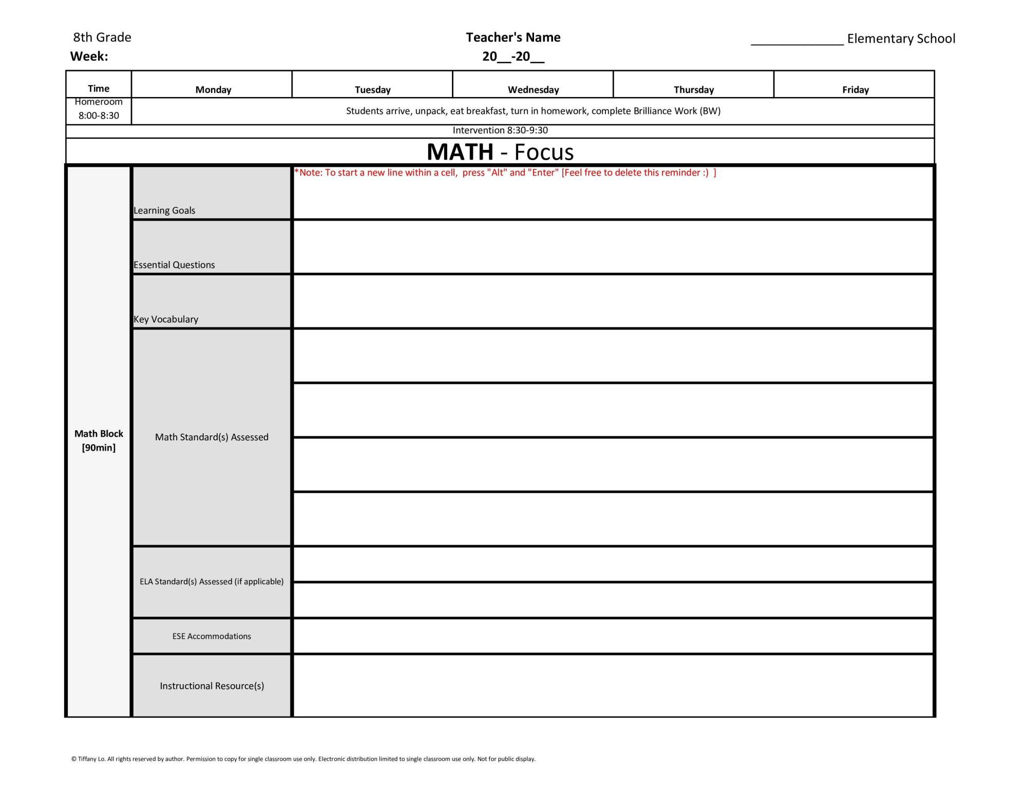 hight resolution of 8th Eighth Grade Common Core Weekly Lesson Plan Template w/ Drop Down Lists  – Tutor and Teacher Templates