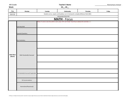 small resolution of 8th Eighth Grade Common Core Weekly Lesson Plan Template w/ Drop Down Lists  – Tutor and Teacher Templates