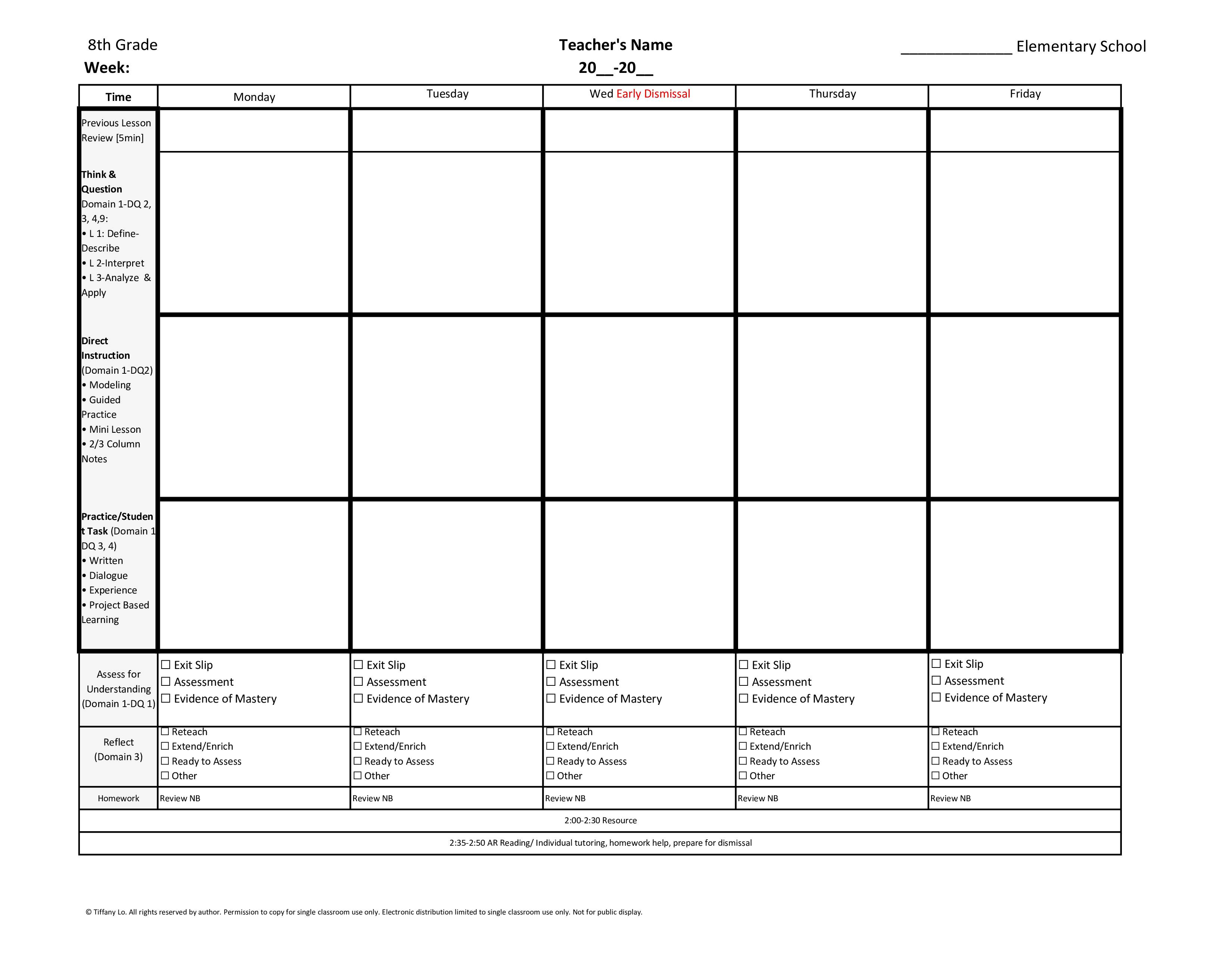 8th Eighth Grade Common Core Weekly Lesson Plan Template W