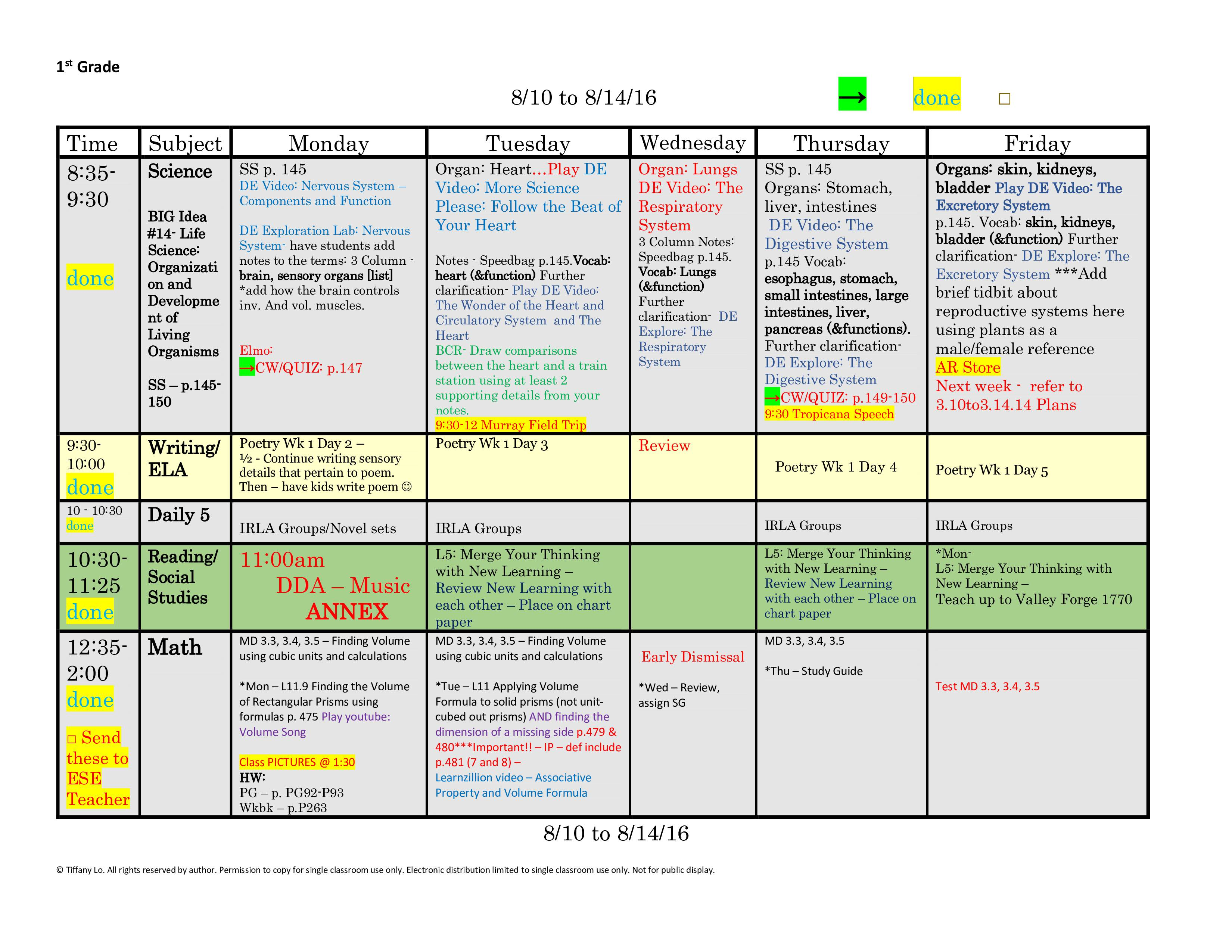 1st First Grade Lesson Plan Template One Week One Page