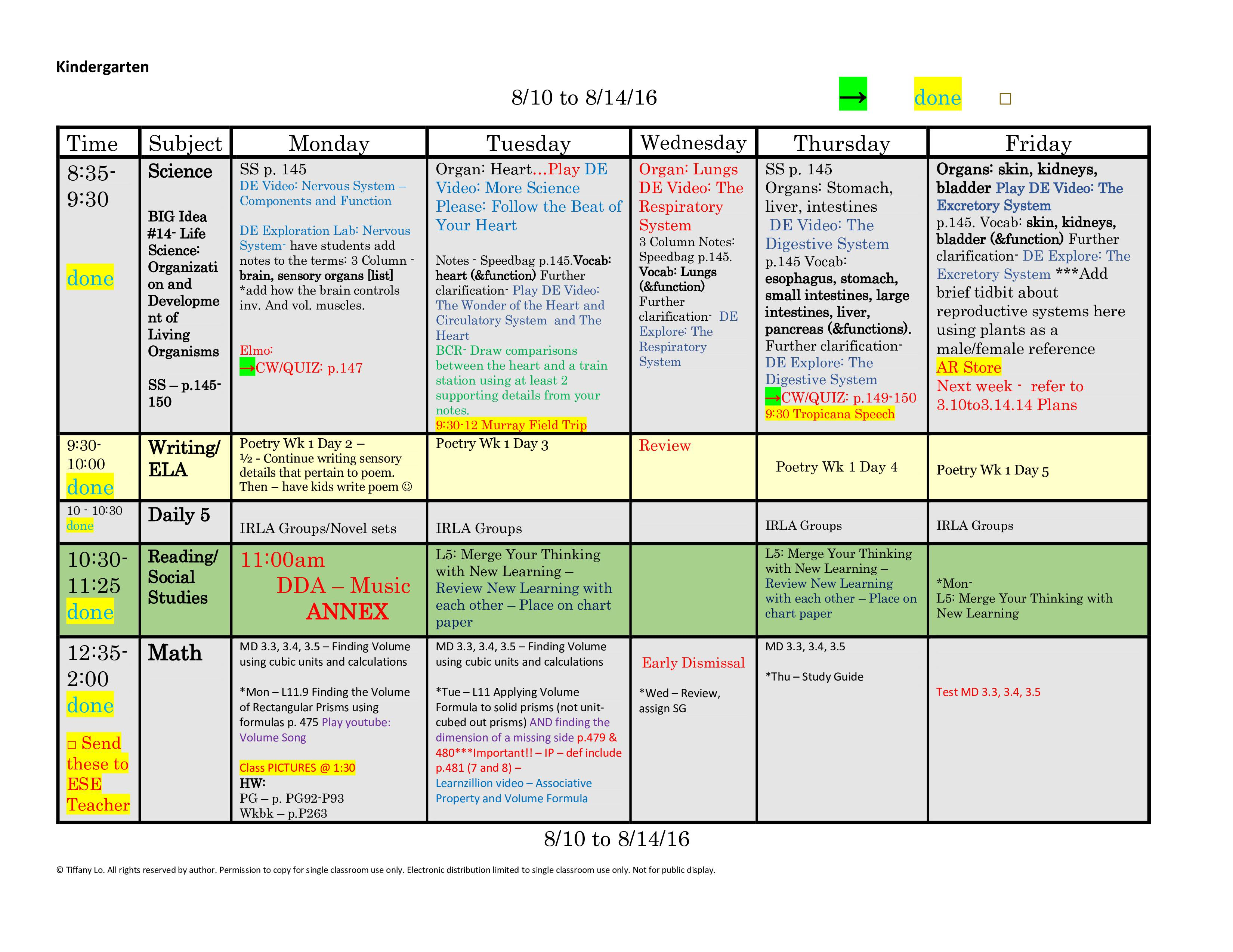 Kindergarten Lesson Plan Template One Week One Page Glance Of All Subjects With Common Core
