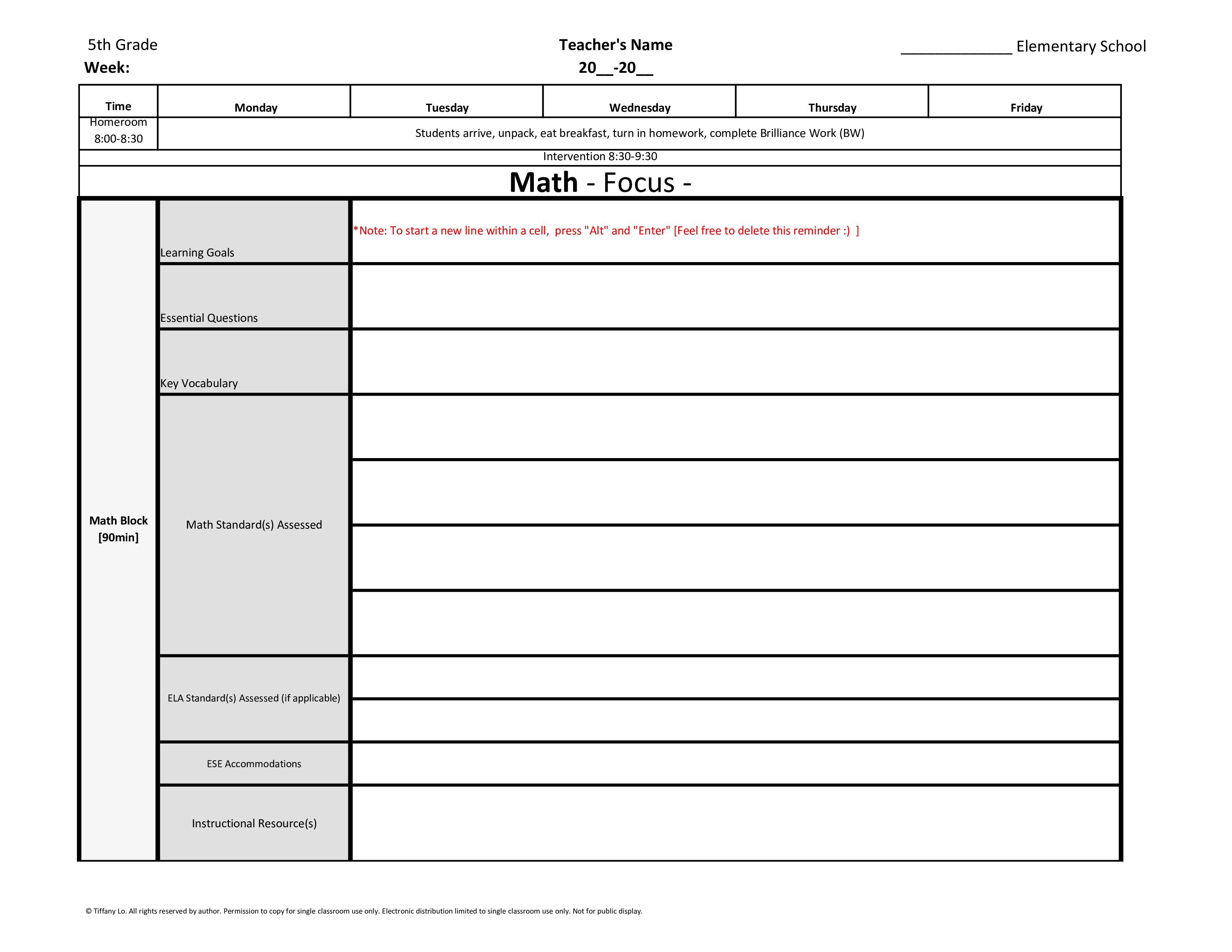 5th Fifth Grade Weekly Lesson Plan Template W Florida