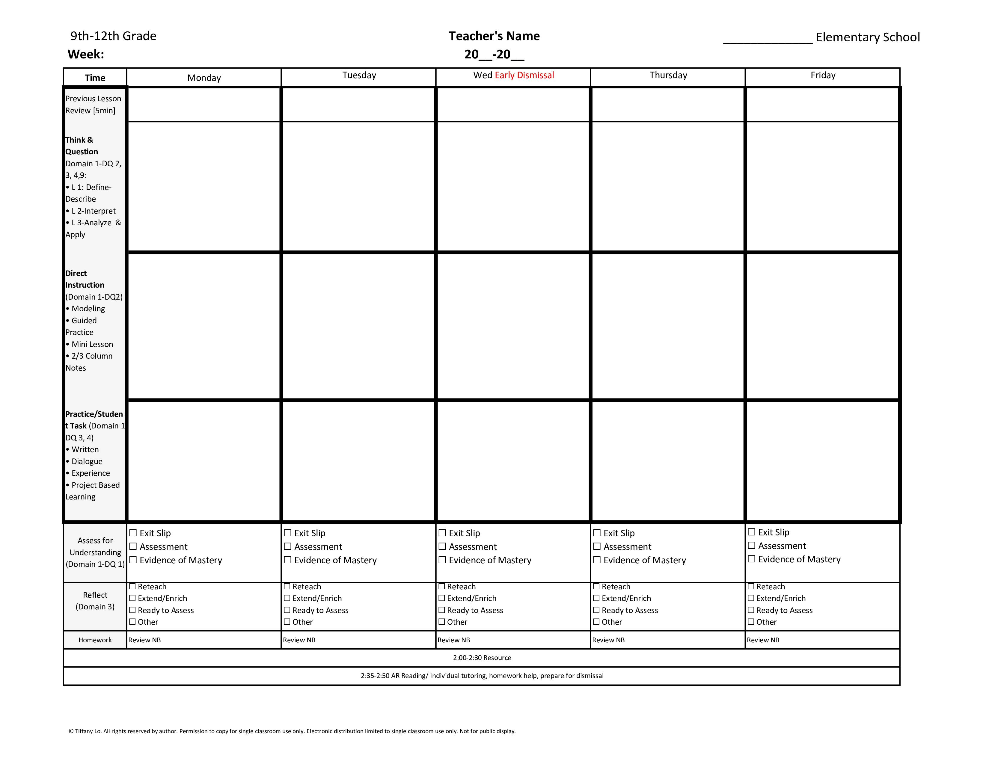 9th 10th 11th 12th Grade Weekly Lesson Plan Template W