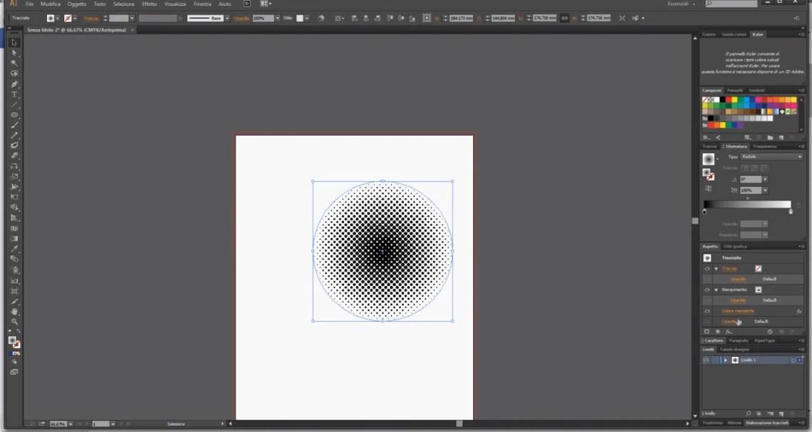 Cerchio in bianco e nero ingrandito
