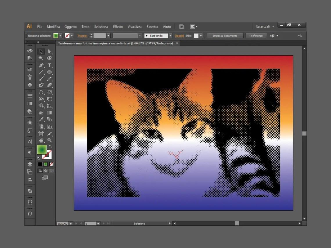 Immagine effetto colore mezzetinte di Illustrator