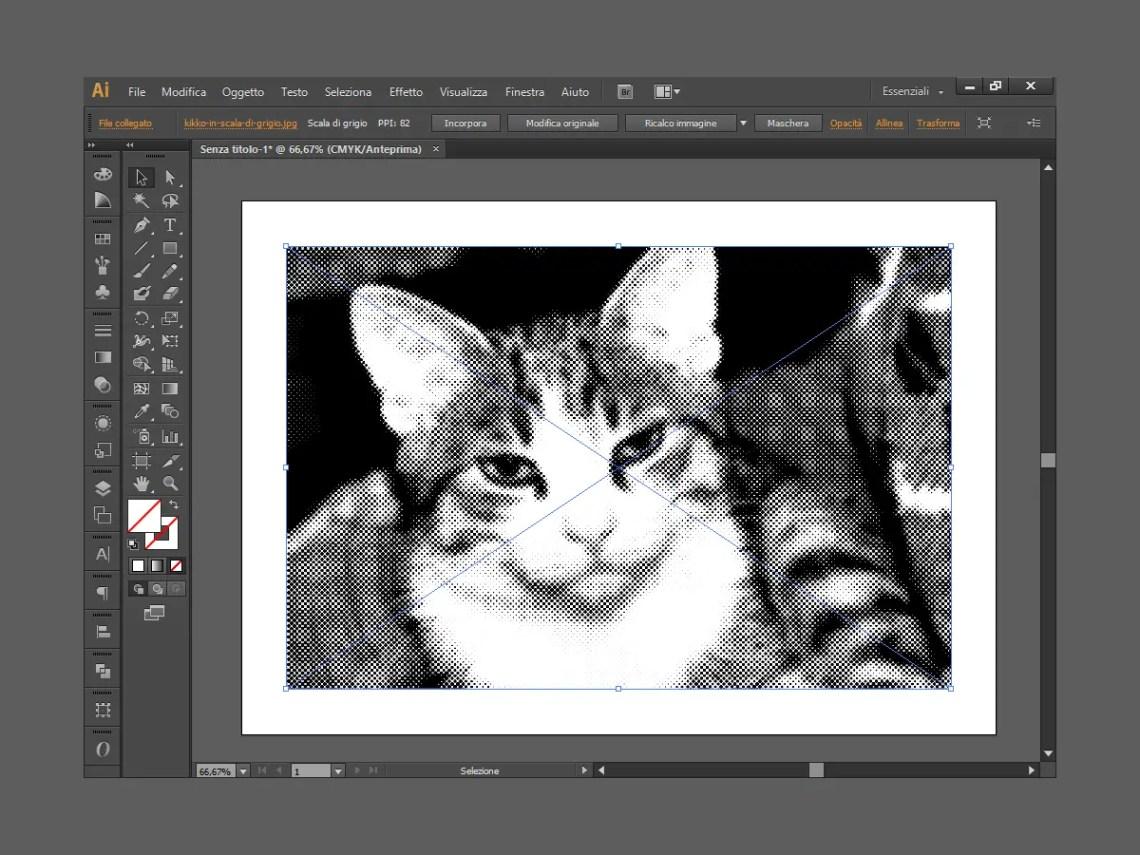 Il gatto Kikko con effetto colore mezzetinte di Illustrator
