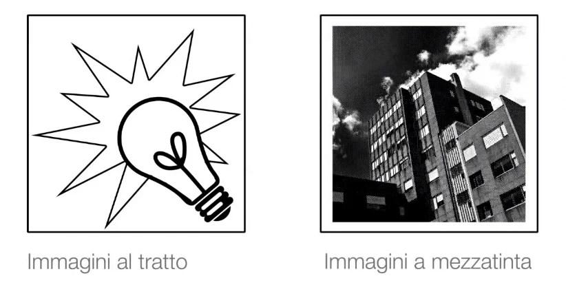 Le immagini al tratto e le immagini a mezzatinta