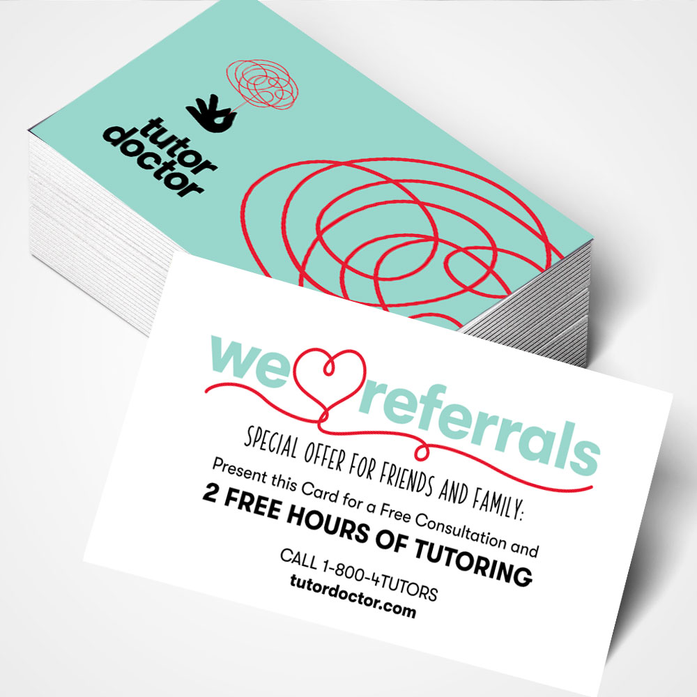 Black Business Card With Blue Circles: Referral Card Tutor Doctor Store