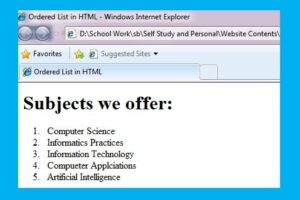 lists in HTML class 10