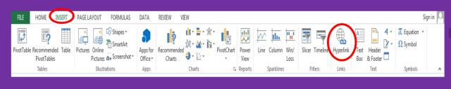 Inserting hyperlink in spreadsheet