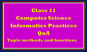 QnA tuple Operations for Class 11