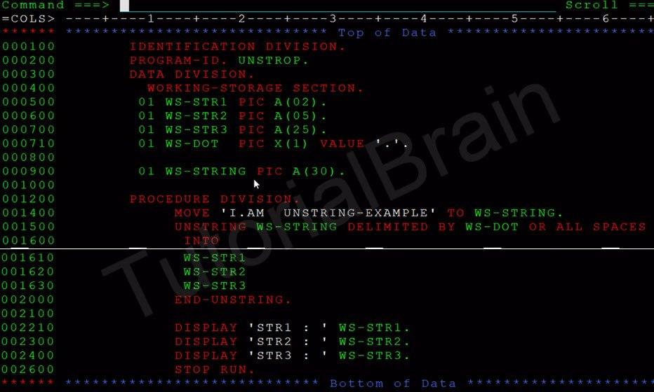 COBOL String Handling — TutorialBrain